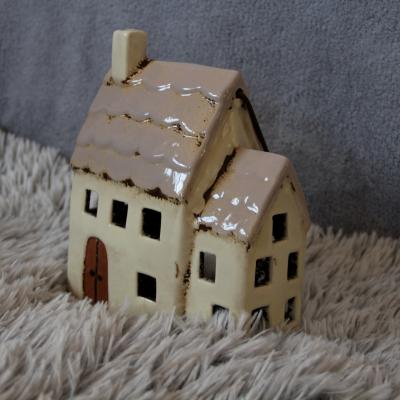 keramický domeček - svícen starorůžový  20cm