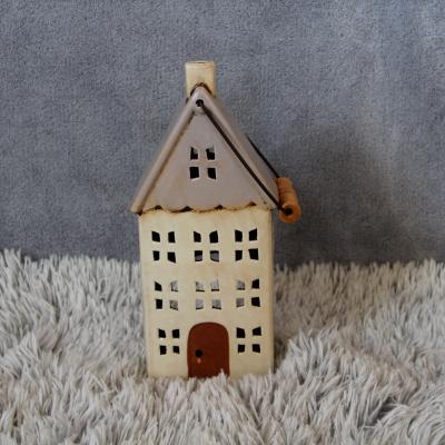 keramický domeček - svícen starorůžový 30cm