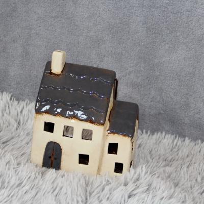 keramický domeček - svícen šedý 20cm