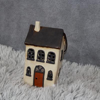 keramický domeček - svícen šedý 22cm
