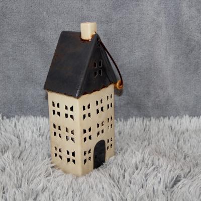 keramický domeček - svícen šedý 30cm