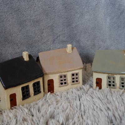 keramický domeček - svícen starorůžový 14cm