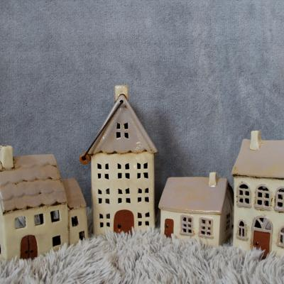 keramický domeček - svícen starorůžový 22cm