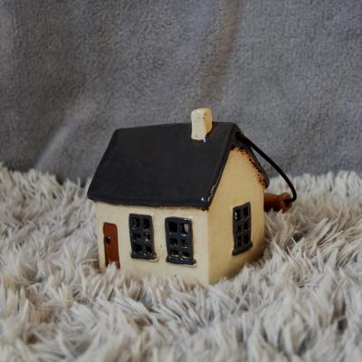 keramický domeček - svícen šedý 14cm