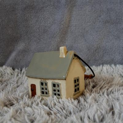 keramický domeček - svícen zelenkavý 14cm