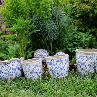 Keramický obal na květináč S bílá/modrá
