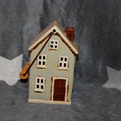 keramický domeček - svícen mint 19 cm
