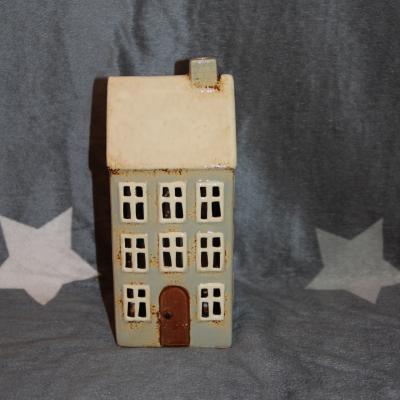 keramický domeček - svícen mint 23cm
