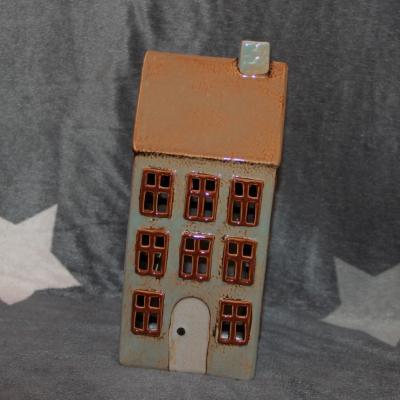 keramický domeček - svícen modrošedý  23cm