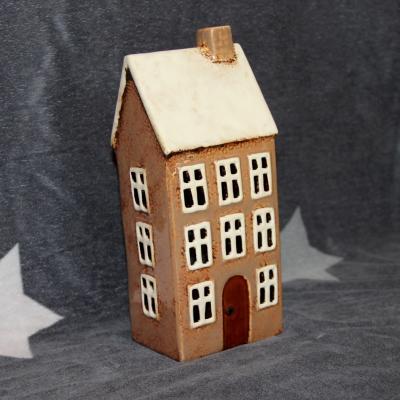 keramický domeček - svícen hnědý 23cm
