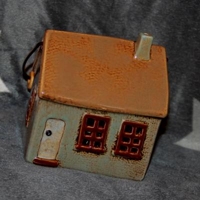 keramický domeček - svícen šedomodrý 14 cm