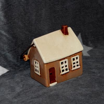 keramický domeček - svícen hnědý 14 cm