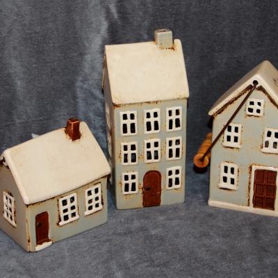 keramický domeček - svícen mint 14 cm