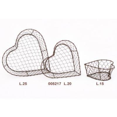drátěná srdce/košíky sada 3ks