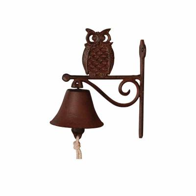 litinový zvonek sova
