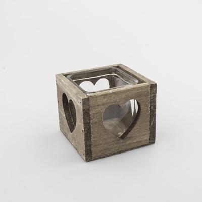 dřevěný svícen na čajové svíčky šedý