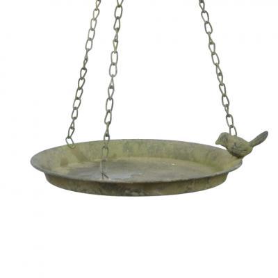 Pítko závěsné s 1 ptáčkem - kovové s patinou