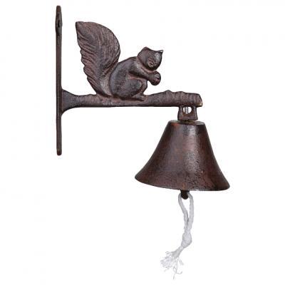 litinový zvonek veverka
