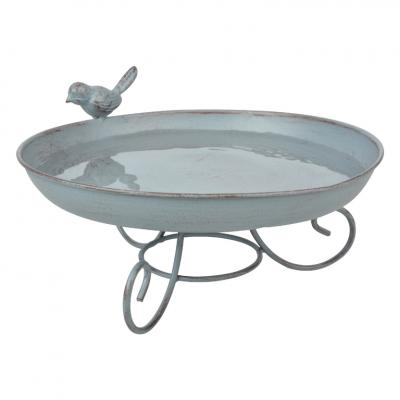 kovové pítko/ptačí koupel šedomodrá