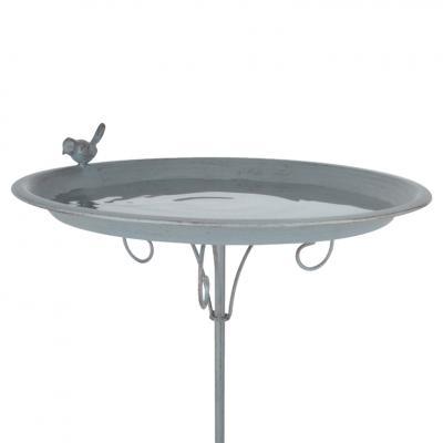 kovové pítko/ptačí koupe šedomodrá - zápich