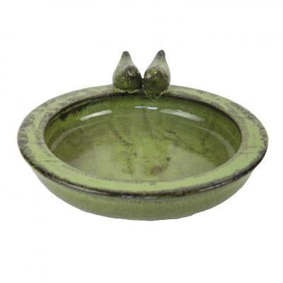 keramické pítko/ptačí koupel zelené