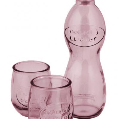 Dárková sada láhev a 2 sklenice - růžová